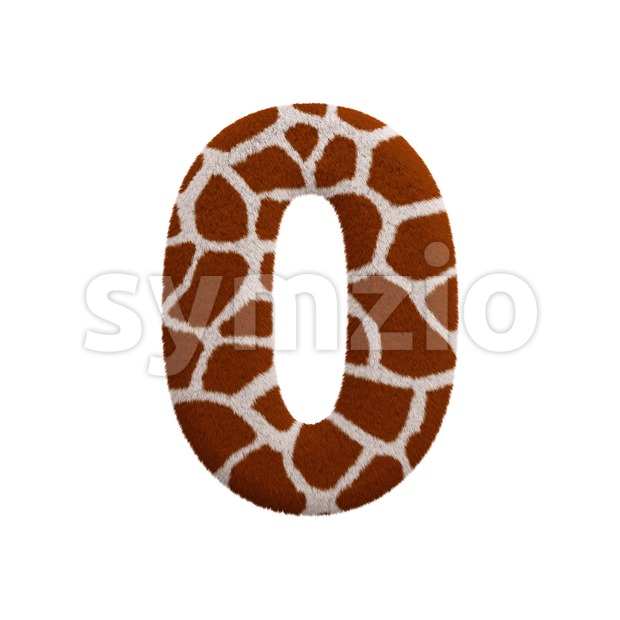 giraffe number 0 - 3d digit Stock Photo