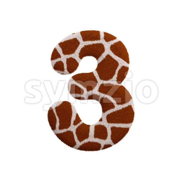 giraffe number 3 - 3d digit Stock Photo