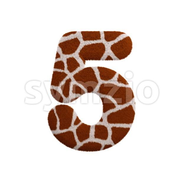 giraffe number 5 - 3d digit Stock Photo
