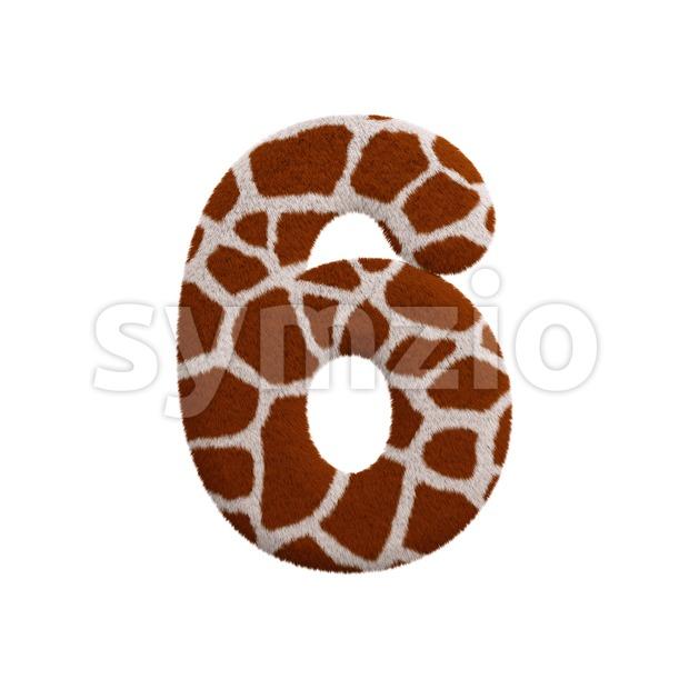 giraffe digit 6 - 3d number Stock Photo