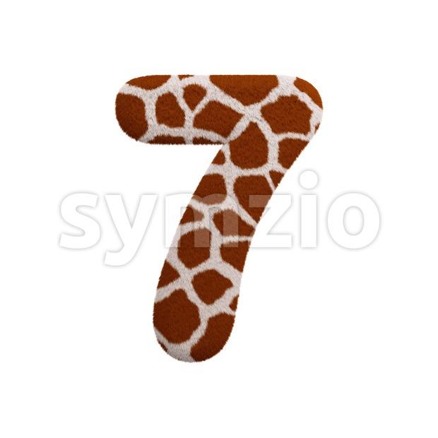 giraffe number 7 - 3d digit Stock Photo