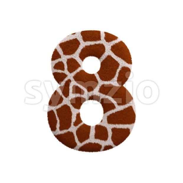 giraffe digit 8 - 3d number Stock Photo