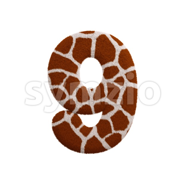 giraffe number 9 - 3d digit Stock Photo