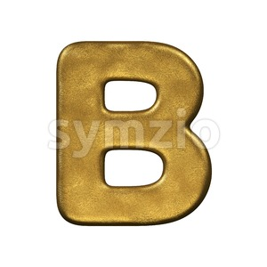 Capital gold foil letter B - Upper-case 3d font Stock Photo