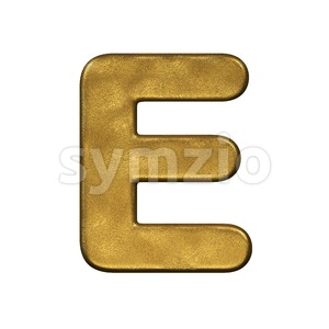 3d Capital character E covered in gold foiled texture Stock Photo