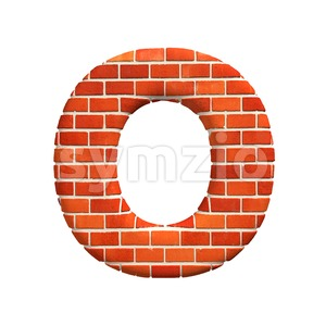 3d Upper-case letter O covered in Brick wall texture Stock Photo