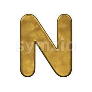 gold foiled font N - Capital 3d letter Stock Photo