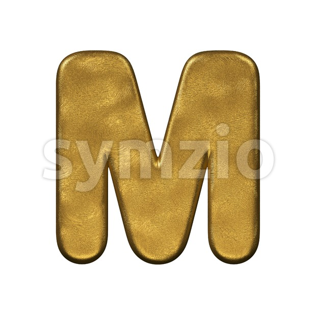 3d Capital character M covered in gold foiled texture Stock Photo