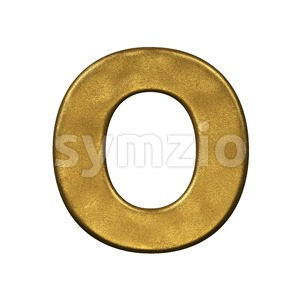 3d Upper-case letter O covered in golden texture Stock Photo