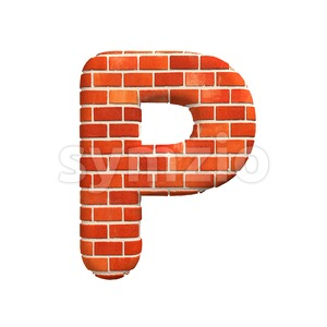 Upper-case Brick character P - Capital 3d font Stock Photo
