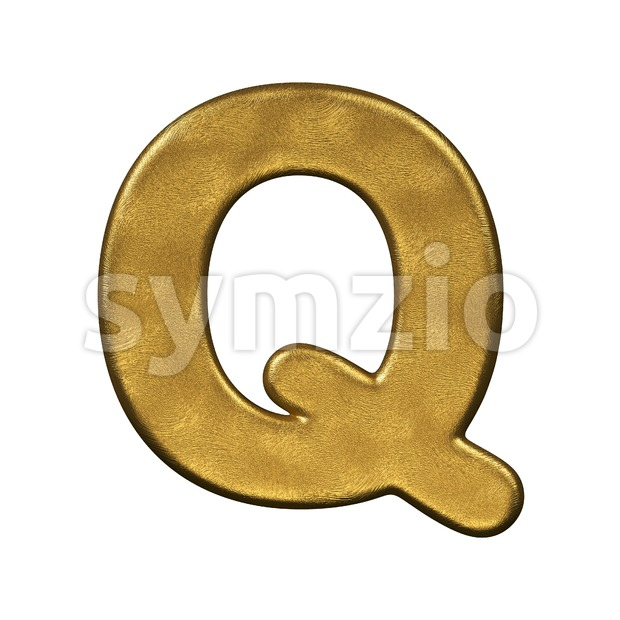 3d Upper-case font Q covered in gold foiled texture Stock Photo