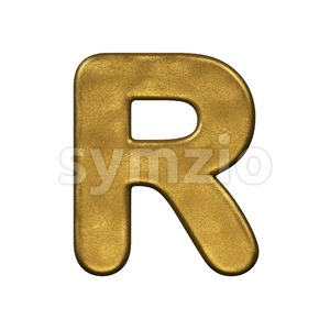 gold foiled letter R - Uppercase 3d font Stock Photo