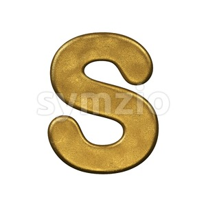 3d Uppercase font S covered in golden texture Stock Photo