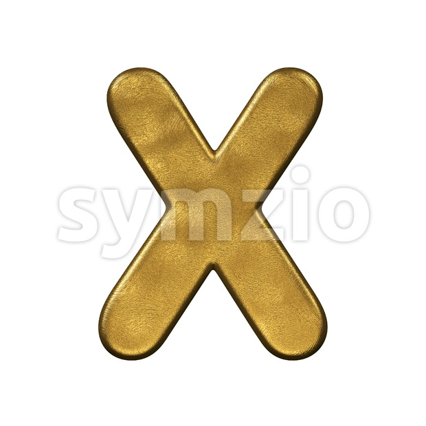 3d Upper-case character X covered in gold foiled texture Stock Photo