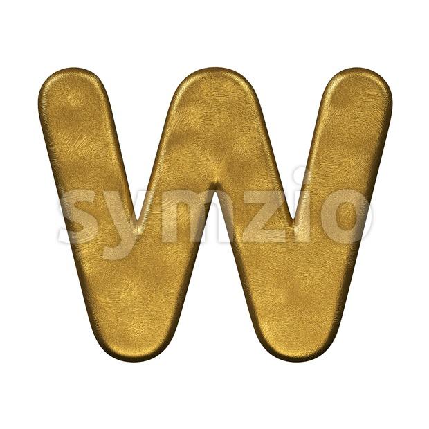gold foil font W - Capital 3d letter Stock Photo