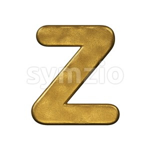 gold foiled letter Z - Upper-case 3d font Stock Photo